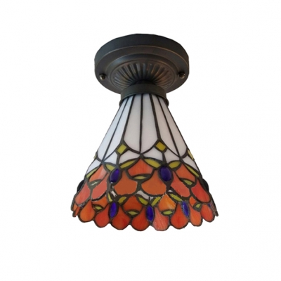6 Inch High Orange Stained Glass One-light Tiffany Semi Flush Mount Ceiling Light