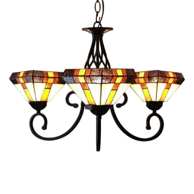 Three-light Diamond Shade Stained Glass Tiffany Chandelier with Black Finish