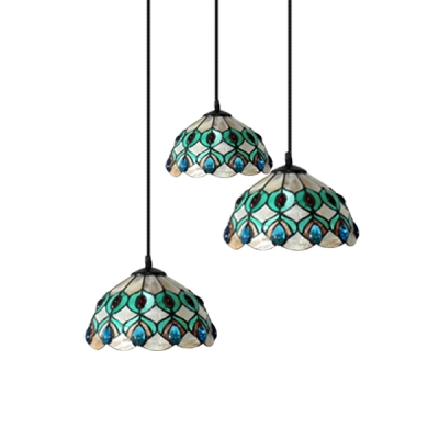 12 Inch Round Shade Shell Stained Glass Tiffany Three-light Pendant Lighting