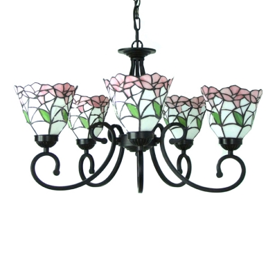 Five-light  Nature Inspired 24 Inch Pink/Blue Stained Glass Tiffany Chandelier Ceiling Light
