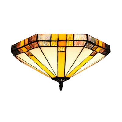 16 Inch Geometric Stained Gl Tiffany Three Light Flush Mount Ceiling