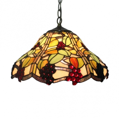 16 Inch Wide Country Style Grape Motif One-light Tiffany Hanging ...