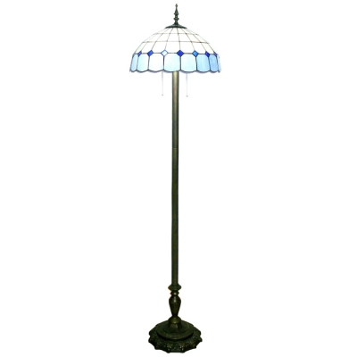 65 Inch High Living Room Floor Lamp in Tiffany Blue and White Stained Glass Style