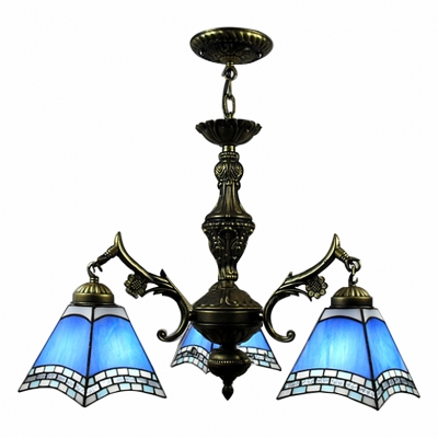 European Fashion Bronze Finished Blue Stained Glass Tiffany 3-light Chandelier