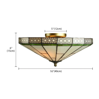 Green Mission Pattern 16 Inch Flush Mount Ceiling Light in Tiffany