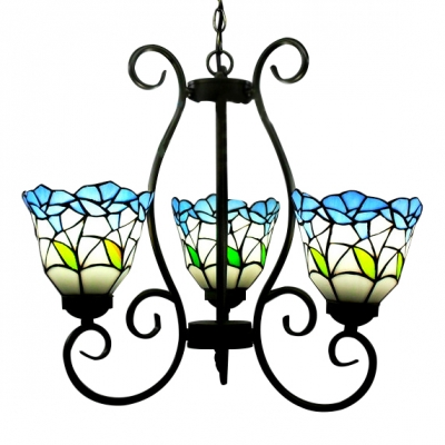 Nature Inspired Leaf Theme 20 Inch Wide Three-light Tiffany Chandelier Ceiling Light