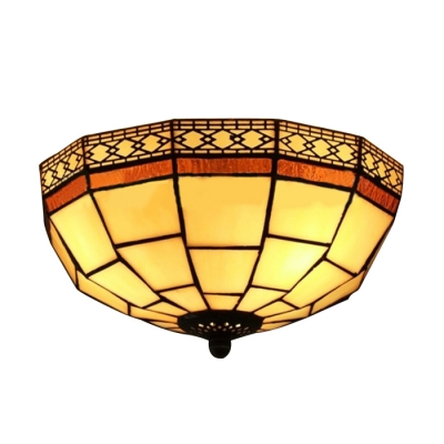 8 Inch Geometric Pattern Flush Mount Ceiling Light in Tiffany Stained Glass Style