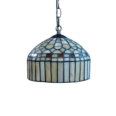 Dome Shade Hand-made Stained Glass Tiffany One-light Hanging Pendant Lighting