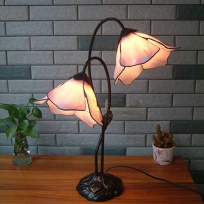 Morning Glory Accent Lamp Two Light Pink Stained Gl In Tiffany Style