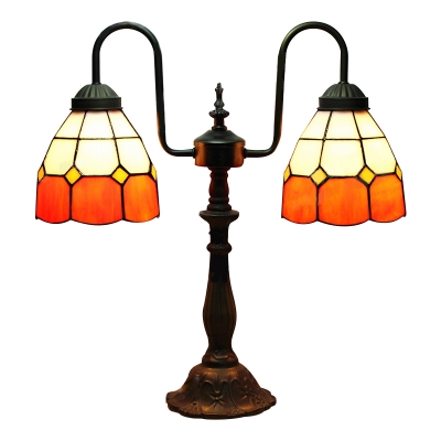 Купить со скидкой Orange Shade 16 Inch Two Lighted Buffet  Table Lamp in Tiffany Stained Glass Style