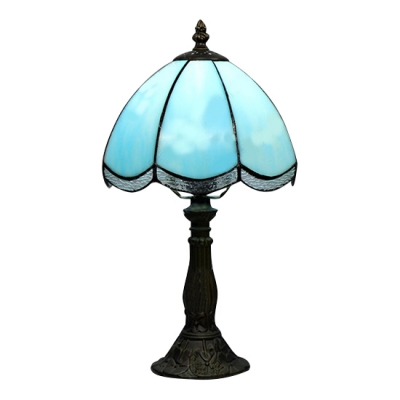 8 Inch Blue/White Glass Tiffany Style One-light Bedside Table Lamp