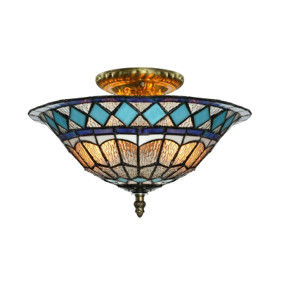 Blue Diamond Pattern 12 Inch Flush Mount Ceiling Light in Tiffany Stained Glass Style