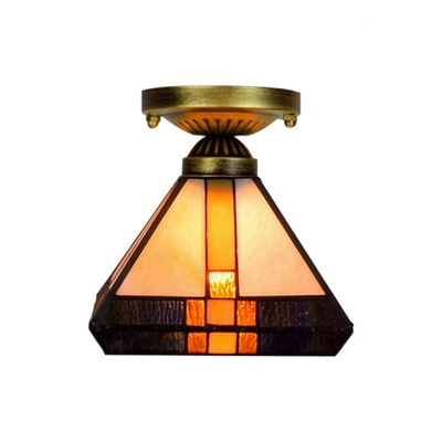 Diamond Shade Stained Glass Tiffany One-light Semi Flush Mount Ceiling Light in Mission Style
