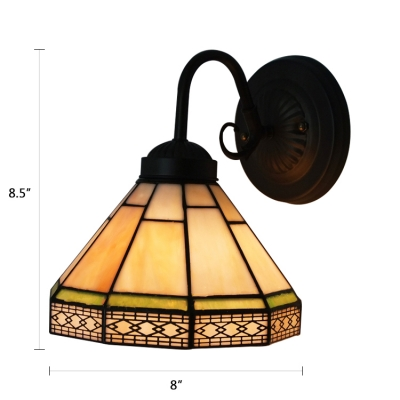Downward Cone Shade 8 Inch Mini Wall Sconce in Tiffany Stained Glass Style