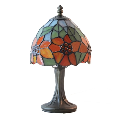 Mini 6 Inch Tiffany Table Lamp with Sun Flower Décor Glass