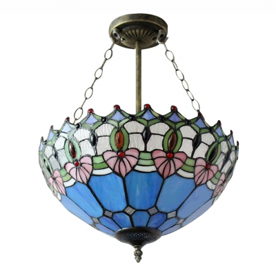 16 Inch Blue Bowl Shade Stained Glass Tiffany 3-light Chandelier