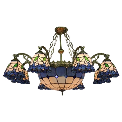 37.8 Inch Wide Blue 9-light Tiffany Chandelier Ceiling Light with ...