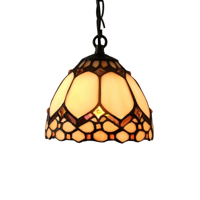 Tiffany Stained Glass Style Downward Bowl Shade 6 Inch Mini Hanging Pendant Lighting