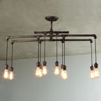 43 inches wide large 10 light led ceiling pendant in steel hanging pipe light