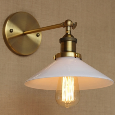 White 1 Light LED Wall Sconce in Brass Finish - Beautifulhalo.com