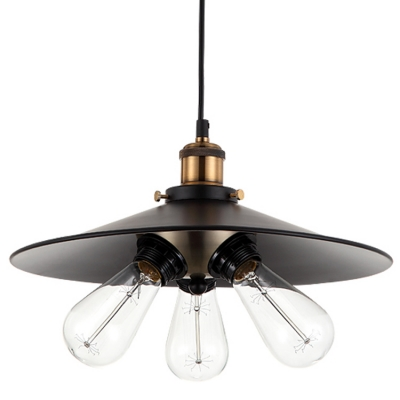 Vintage Industrial Black Metal Shade LED Pendant Kitchen 3 Light Ceiling Light