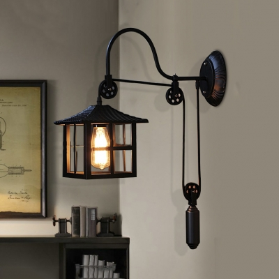 Pulley Square Shade Single Wall Sconce Industrial Farmhouse Porch Gooseneck Wall Light