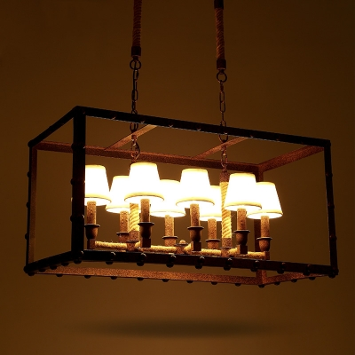 Industrial Style 8 Light Rectangle Rope LED Chandelier in Rust Finish 31 1/2