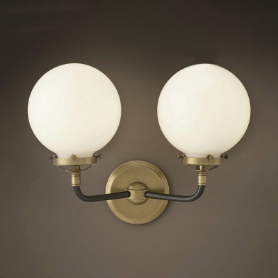 Brass 2 Light Led Wall Sconce With White Glass Round Shade