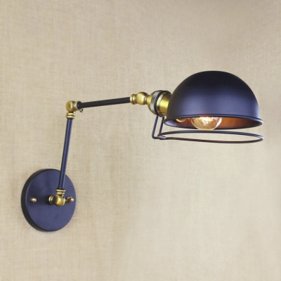 Satin Black 1 Light Small Adjustable LED Wall Sconce with Dome Shaped Metal Shade
