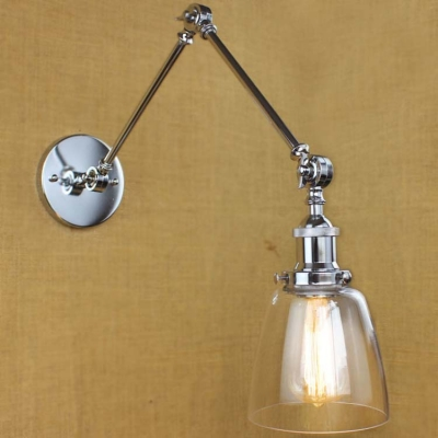 Clear Glass Bowl Shade Chrome 1 Light LED Mini Wall Sconce