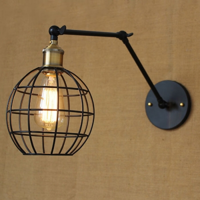 Industrial Globe Wire Cage 1 Light Led Mini Pendant Light