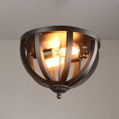 Wrought iron 2 Light LED Flush Mount in Black Cage