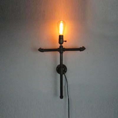 Wrought Iron Cross Single Light Pipe LED Wall Sconce in Black Finish HL409274 фото