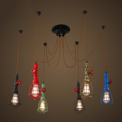 Multi Color 6 Light Pipe Pendant Light with Wire Guard Retro Wrought Iron Spider Chandelier for Restaurant Bar