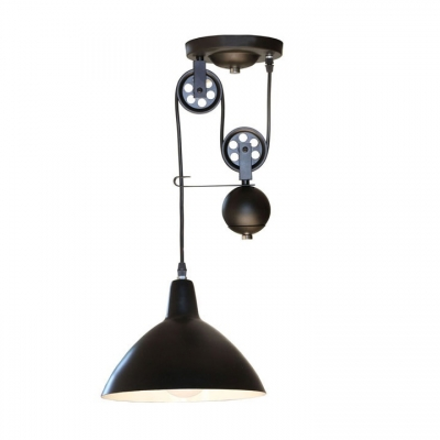 Pulley Bowl Shade Pendant Light Industrial Matte Black One Light Hanging Pendant 10
