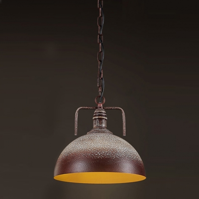 12''Wide Industrial 1 Light Brown and White Dome Pendant