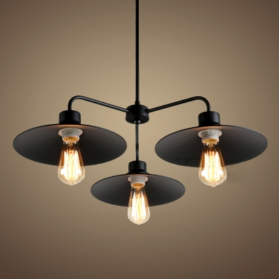 Industrial style 3 light led chandelier with metal shade industrial style 3 light led chandelier with metal shade aloadofball Images