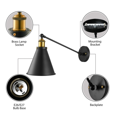 Industrial Conical Shade Wall Light in Black for Warehouse Farmhouse Living Room
