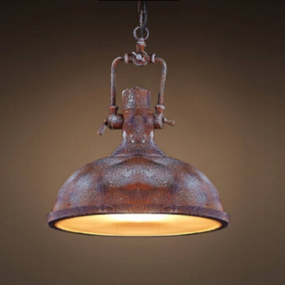 Antique Copper 1 Light Industrial Dome Shaped Indoor LED Pendant