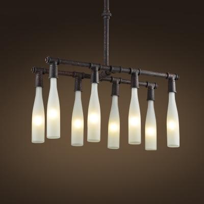 Rust Iron Eight Light White Glass Bottle 1 Tier LED Island Chandelier