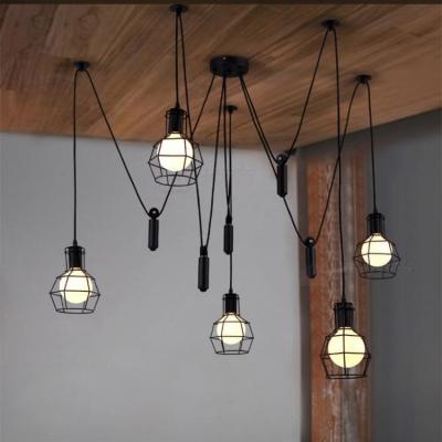 Retro black 5 light led hanging pendant light with cage shade aloadofball Gallery