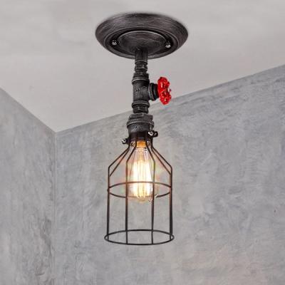 Brushed Iron Single Light Open Cage Led Semi Flush Ceiling