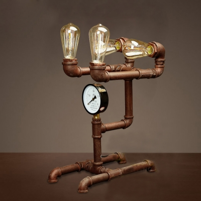 Rust Iron Four Light Pipe Steampunk Led Table Lamp