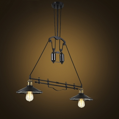 Antique Black 2 Light Led Pendant With Tapered Shade