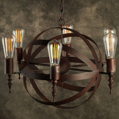 ... Industrial LED Orb Chandelier Pendant in Antique Copper, 21'' W, 6 Light - Industrial LED Orb Chandelier Pendant In Antique Copper, 21'' W, 6