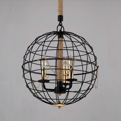 Industrial Globe Chandelier Pendant in 16'' Wide with 3 Light