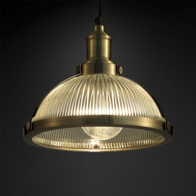 super popular ae212 0f24e Bronze/Chrome Dome Pendant Lamp Industrial Ribbed Glass 1 Bulb Hanging