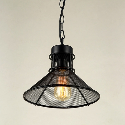 "Industrial Metal 12"" Wide Black Small  Pendant"