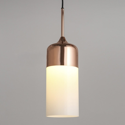 Polished copper single light white glass cylinder mini pendant polished copper single light white glass cylinder mini pendant lighting aloadofball Image collections