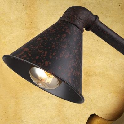 Rust Iron Single Light Cone Shape Task LED Desk Lamp